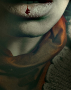 Close-up of a womans lips bleeding